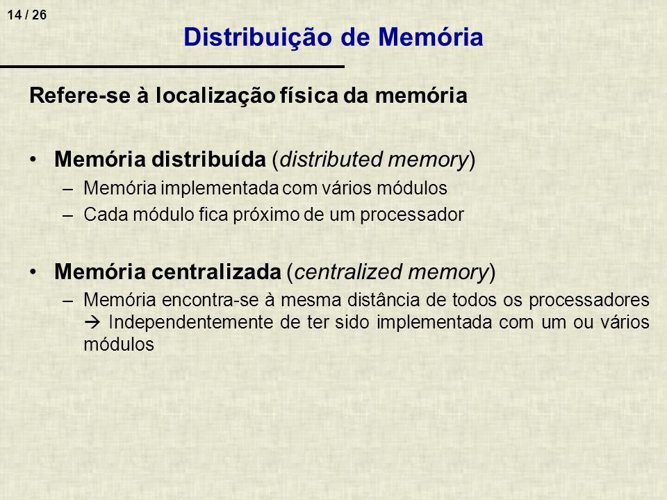 14 / 26 Distribuição de Memória Refere-se à localização física da memória Memória distribuída (distributed memory) –Memória implementada com vários mó