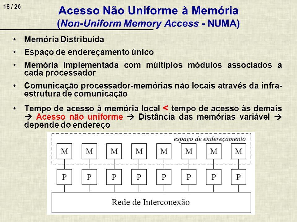 18 / 26 Acesso Não Uniforme à Memória (Non-Uniform Memory Access - NUMA) Memória Distribuída Espaço de endereçamento único Memória implementada com mú