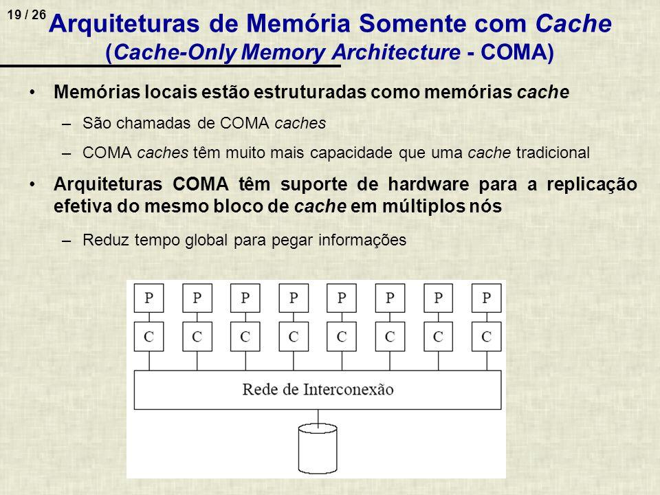 19 / 26 Arquiteturas de Memória Somente com Cache (Cache-Only Memory Architecture - COMA) Memórias locais estão estruturadas como memórias cache –São