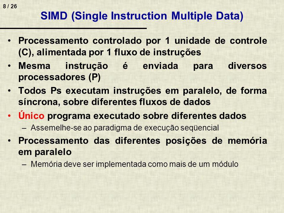 8 / 26 SIMD (Single Instruction Multiple Data) Processamento controlado por 1 unidade de controle (C), alimentada por 1 fluxo de instruções Mesma inst