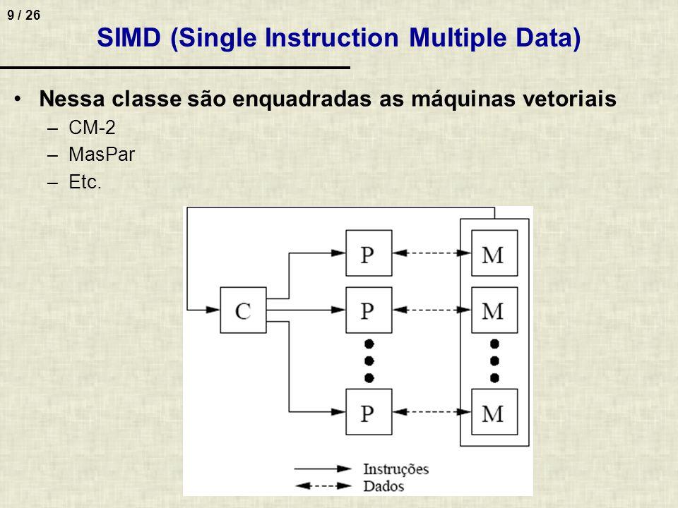 10 / 26 MIMD (Multiple Instruction Multiple Data) Cada C recebe 1 fluxo de instruções e repassa para seu P para que seja executado sobre seu fluxo de instruções –Cada processador executa seu próprio programa sobre seus próprios dados de forma assíncrona –Princípio MIMD é bastante genérico Qualquer grupo de máquinas, se analisado como uma unidade pode ser considerado uma máquina MIMD –Igualmente ao SIMD, unidade de memória não pode ser implementada como um único módulo