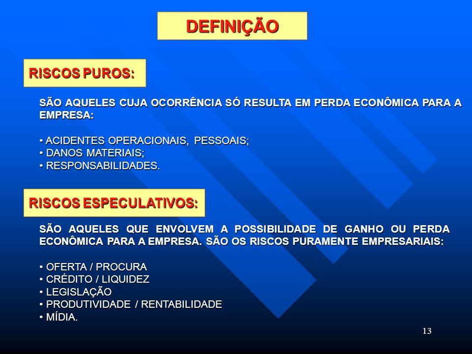 13 DEFINIÇÃO RISCOS PUROS: RISCOS ESPECULATIVOS: SÃO AQUELES CUJA OCORRÊNCIA SÓ RESULTA EM PERDA ECONÔMICA PARA A EMPRESA: ACIDENTES OPERACIONAIS, PES