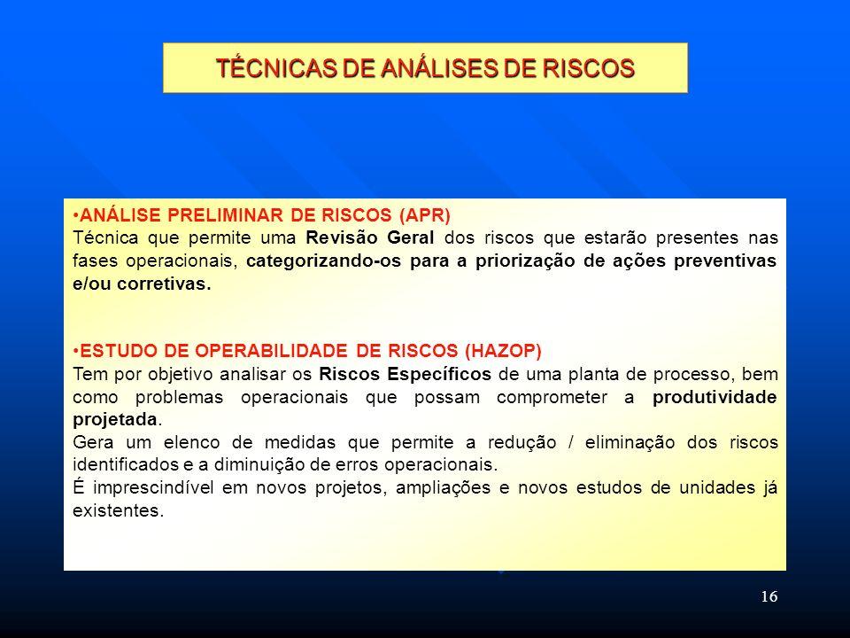 16 TÉCNICAS DE ANÁLISES DE RISCOS ANÁLISE PRELIMINAR DE RISCOS (APR) Técnica que permite uma Revisão Geral dos riscos que estarão presentes nas fases