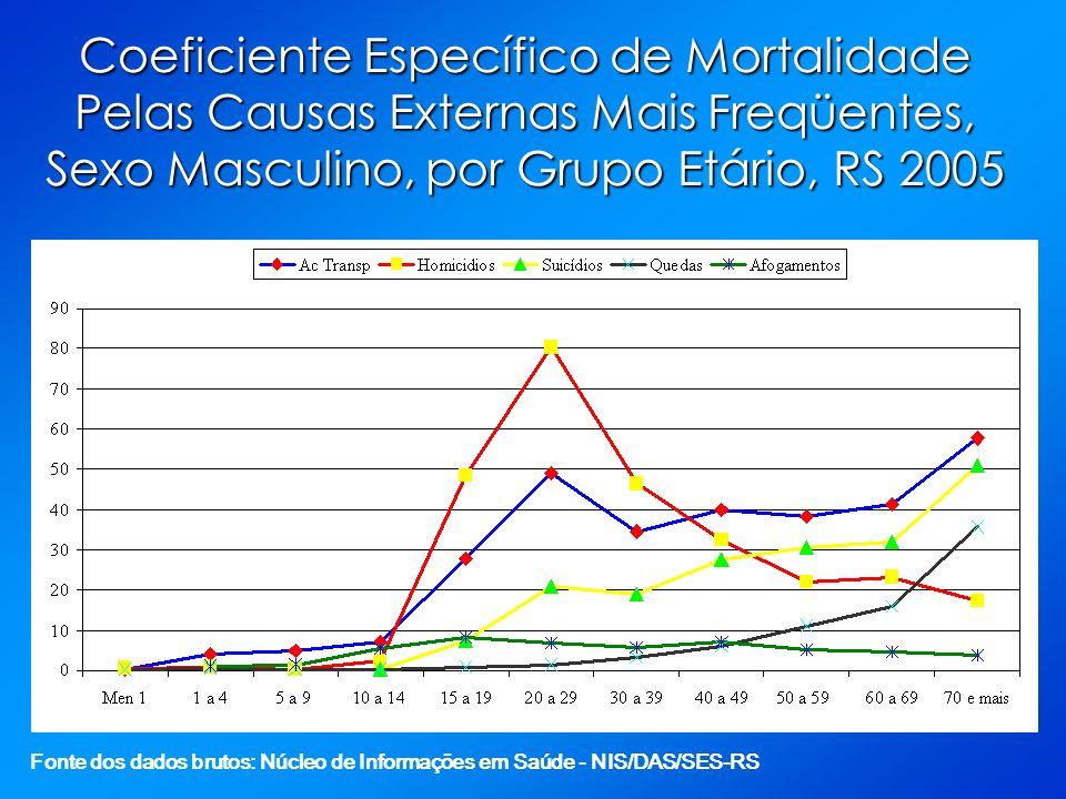 Coeficiente Específico de Mortalidade Pelas Causas Externas Mais Freqüentes, Sexo Masculino, por Grupo Etário, RS 2005 Fonte dos dados brutos: Núcleo de Informações em Saúde - NIS/DAS/SES-RS