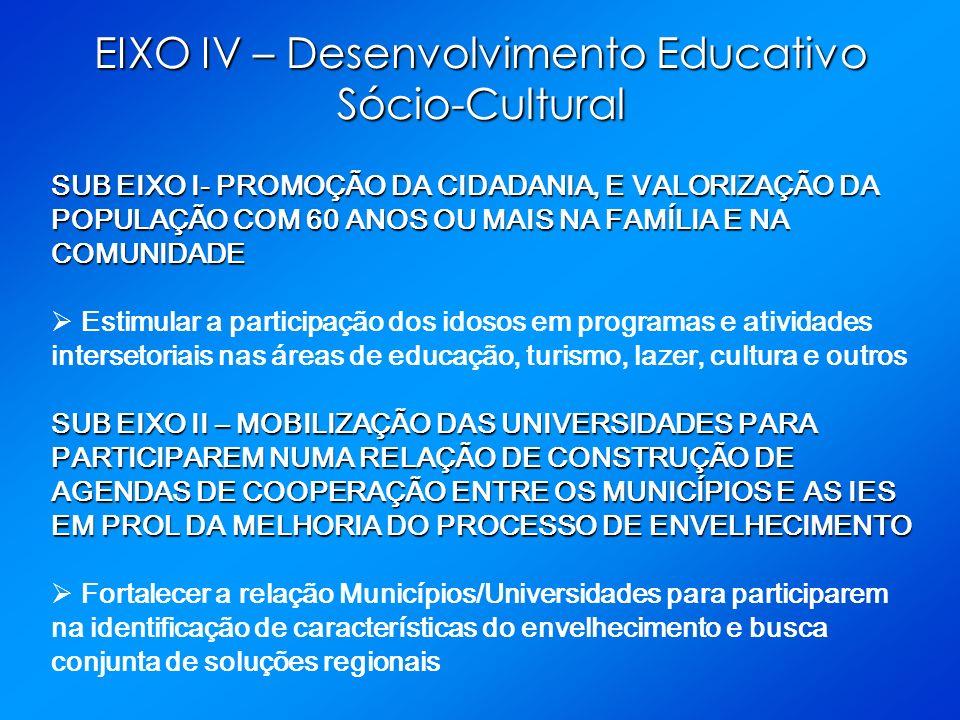 EIXO IV – Desenvolvimento Educativo Sócio-Cultural SUB EIXO I- PROMOÇÃO DA CIDADANIA, E VALORIZAÇÃO DA POPULAÇÃO COM 60 ANOS OU MAIS NA FAMÍLIA E NA C