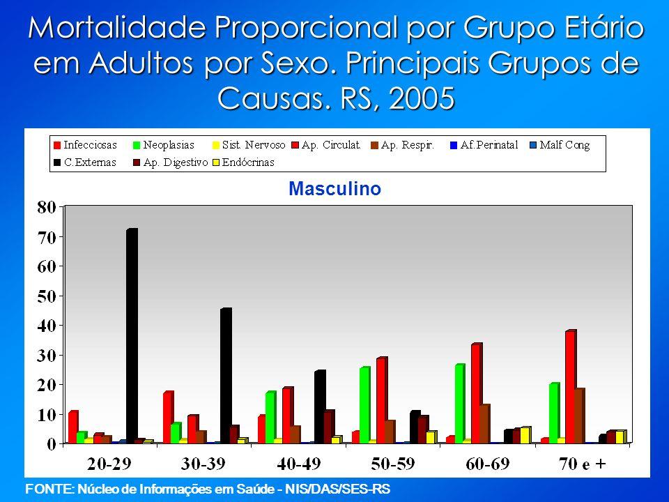 Mortalidade Proporcional por Grupo Etário em Adultos por Sexo. Principais Grupos de Causas. RS, 2005 Masculino FONTE: Núcleo de Informações em Saúde -