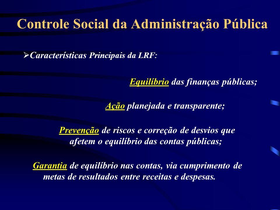 Controle Social da Administração Pública Ação planejada e transparente; Prevenção de riscos e correção de desvios que afetem o equilíbrio das contas públicas; Garantia de equilíbrio nas contas, via cumprimento de metas de resultados entre receitas e despesas.