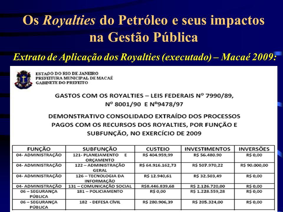 Extrato de Aplicação dos Royalties (executado) – Macaé 2009: Os Royalties do Petróleo e seus impactos na Gestão Pública