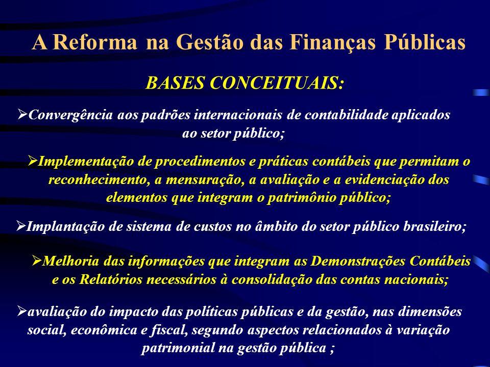 A Reforma na Gestão das Finanças Públicas BASES CONCEITUAIS: Convergência aos padrões internacionais de contabilidade aplicados ao setor público; Implementação de procedimentos e práticas contábeis que permitam o reconhecimento, a mensuração, a avaliação e a evidenciação dos elementos que integram o patrimônio público; Implantação de sistema de custos no âmbito do setor público brasileiro; Melhoria das informações que integram as Demonstrações Contábeis e os Relatórios necessários à consolidação das contas nacionais; avaliação do impacto das políticas públicas e da gestão, nas dimensões social, econômica e fiscal, segundo aspectos relacionados à variação patrimonial na gestão pública ;