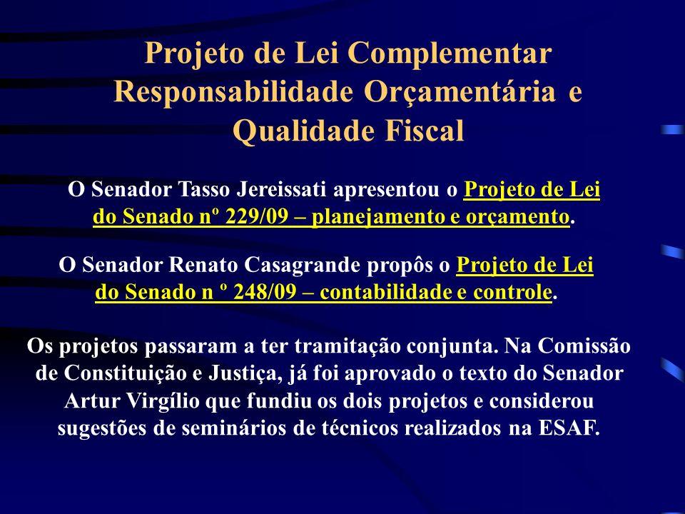 Projeto de Lei Complementar Responsabilidade Orçamentária e Qualidade Fiscal O Senador Tasso Jereissati apresentou o Projeto de Lei do Senado nº 229/09 – planejamento e orçamento.