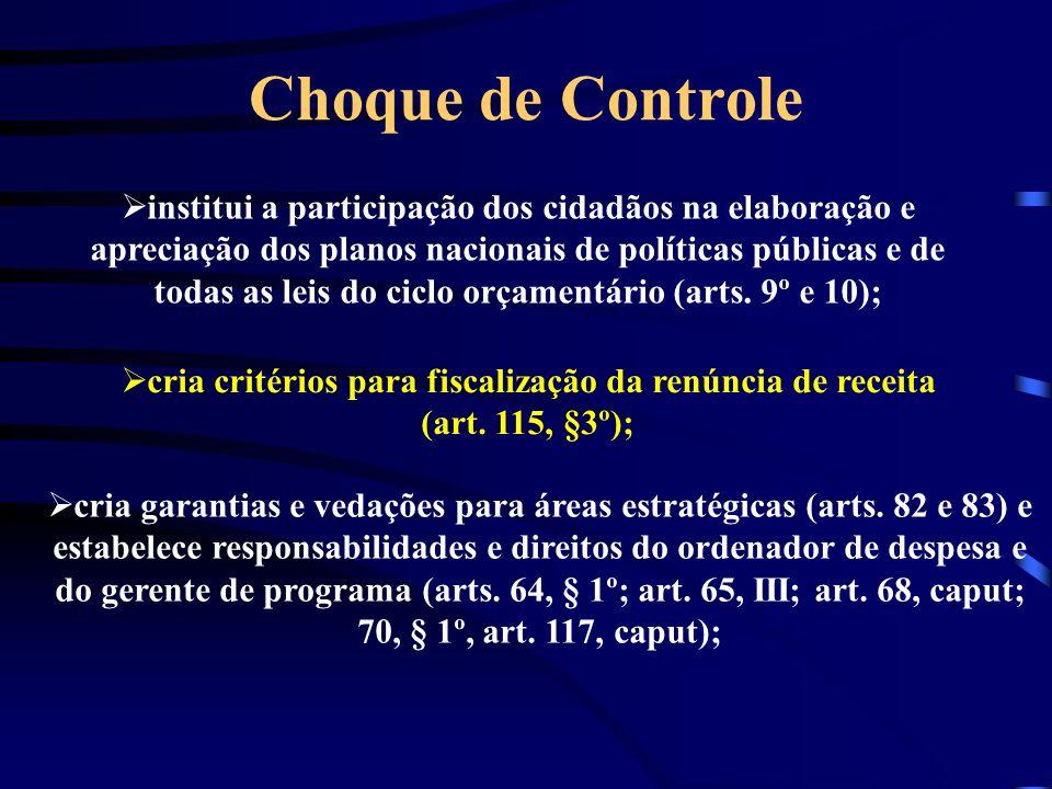 Choque de Controle institui a participação dos cidadãos na elaboração e apreciação dos planos nacionais de políticas públicas e de todas as leis do ciclo orçamentário (arts.