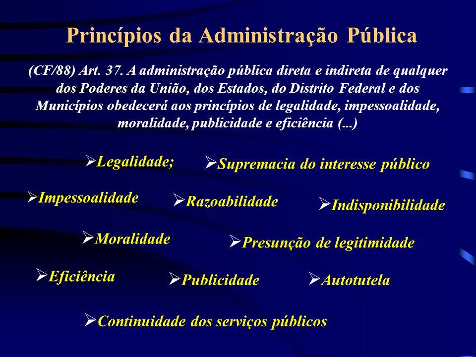 Princípios da Administração Pública (CF/88) Art.37.
