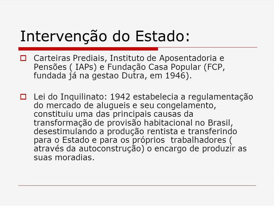 Intervenção do Estado: Carteiras Prediais, Instituto de Aposentadoria e Pensões ( IAPs) e Fundação Casa Popular (FCP, fundada já na gestao Dutra, em 1