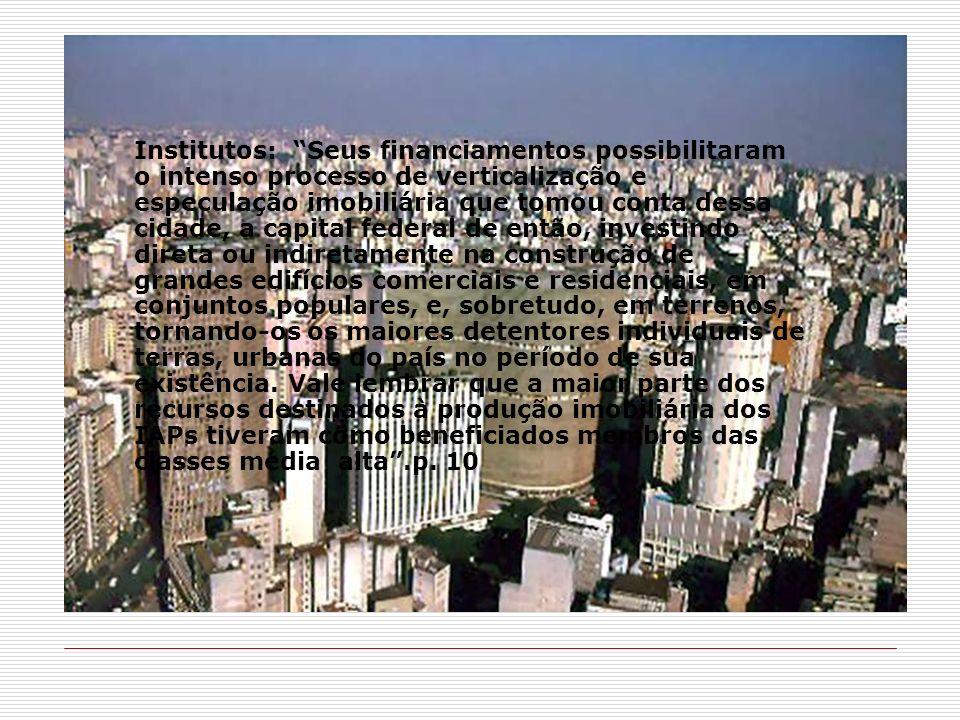 Institutos: Seus financiamentos possibilitaram o intenso processo de verticalização e especulação imobiliária que tomou conta dessa cidade, a capital