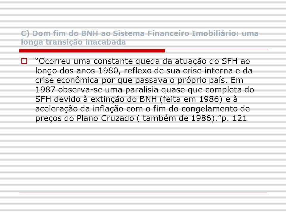 C) Dom fim do BNH ao Sistema Financeiro Imobiliário: uma longa transição inacabada Ocorreu uma constante queda da atuação do SFH ao longo dos anos 198