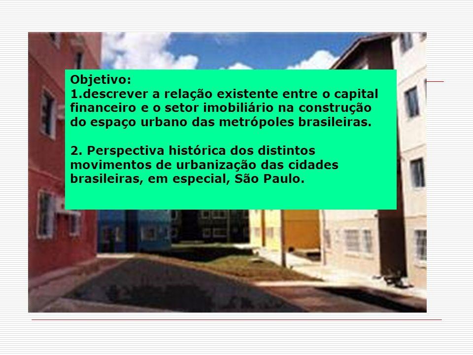 Objetivo: 1.descrever a relação existente entre o capital financeiro e o setor imobiliário na construção do espaço urbano das metrópoles brasileiras.