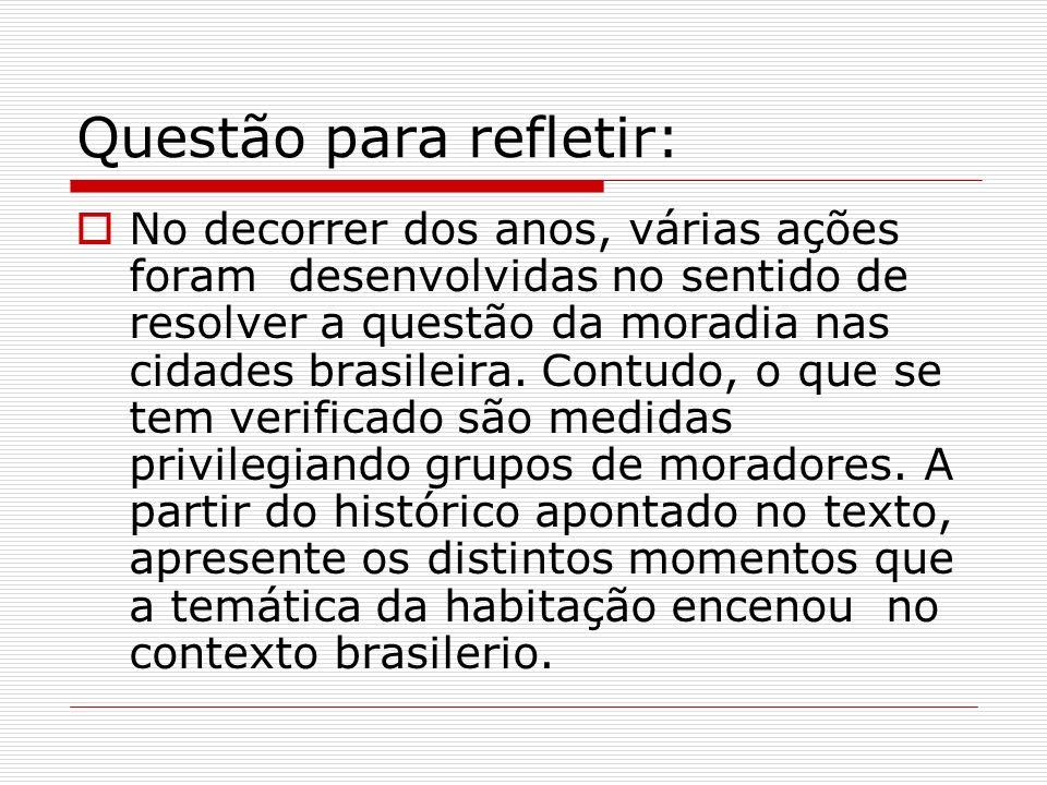 Questão para refletir: No decorrer dos anos, várias ações foram desenvolvidas no sentido de resolver a questão da moradia nas cidades brasileira. Cont