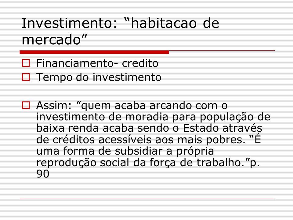 Investimento: habitacao de mercado Financiamento- credito Tempo do investimento Assim: quem acaba arcando com o investimento de moradia para população