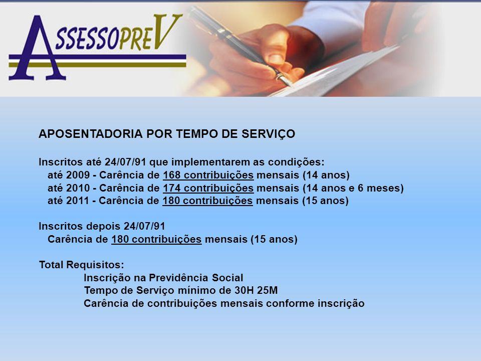 APOSENTADORIA POR TEMPO DE SERVIÇO Inscritos até 24/07/91 que implementarem as condições: até 2009 - Carência de 168 contribuições mensais (14 anos) a