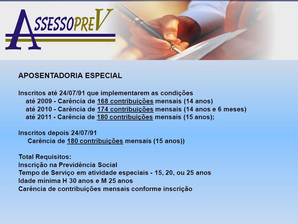 APOSENTADORIA ESPECIAL Inscritos até 24/07/91 que implementarem as condições até 2009 - Carência de 168 contribuições mensais (14 anos) até 2010 - Car