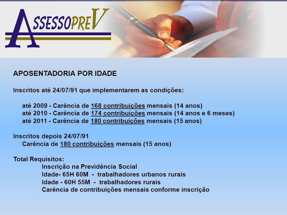APOSENTADORIA POR IDADE Inscritos até 24/07/91 que implementarem as condições: até 2009 - Carência de 168 contribuições mensais (14 anos) até 2010 - C