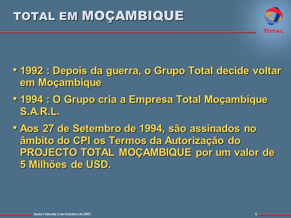 Sexta Feira dia 3 de Outubro de 20035 TOTAL EM MOÇAMBIQUE 1992 : Depois da guerra, o Grupo Total decide voltar em Moçambique 1992 : Depois da guerra, o Grupo Total decide voltar em Moçambique 1994 : O Grupo cria a Empresa Total Moçambique S.A.R.L.