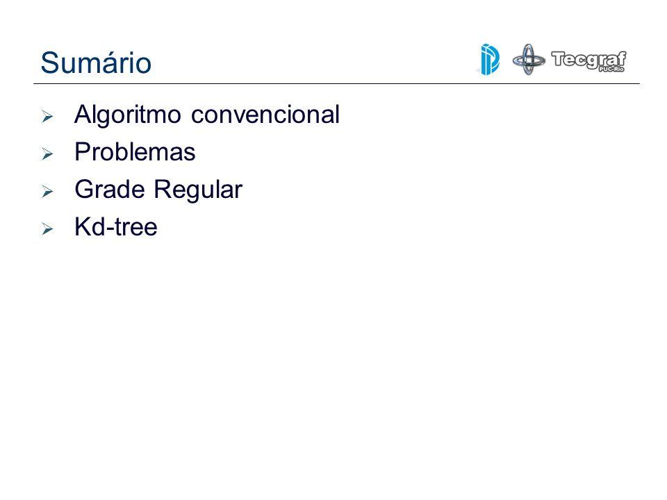 Sumário Algoritmo convencional Problemas Grade Regular Kd-tree