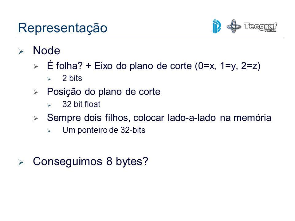 Representação Node É folha? + Eixo do plano de corte (0=x, 1=y, 2=z) 2 bits Posição do plano de corte 32 bit float Sempre dois filhos, colocar lado-a-