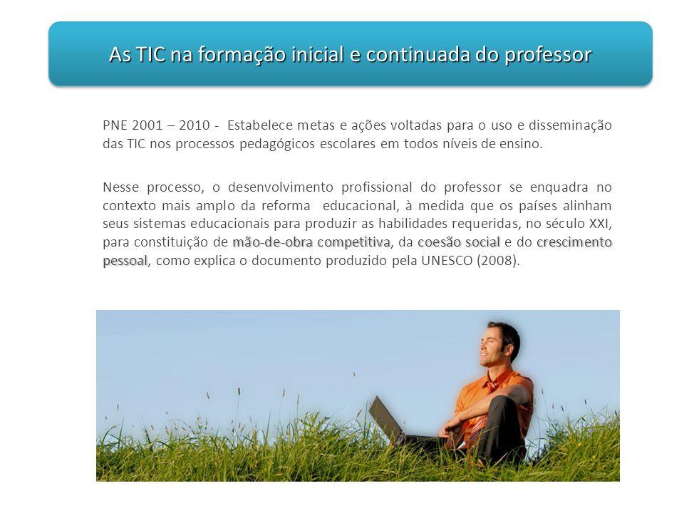 PNE 2001 – 2010 - Estabelece metas e ações voltadas para o uso e disseminação das TIC nos processos pedagógicos escolares em todos níveis de ensino. m