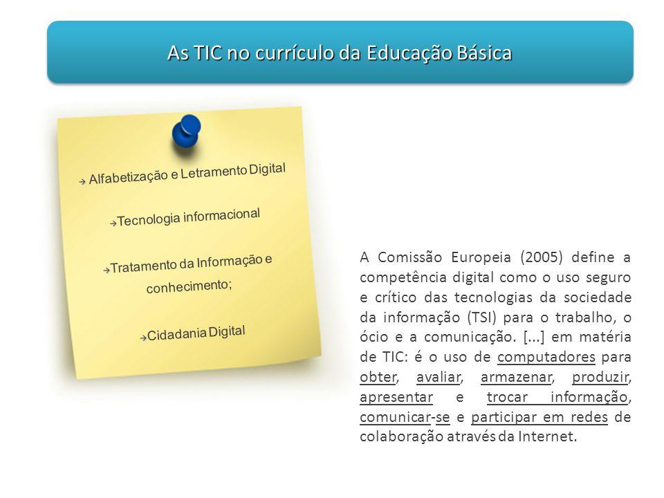 A Comissão Europeia (2005) define a competência digital como o uso seguro e crítico das tecnologias da sociedade da informação (TSI) para o trabalho,