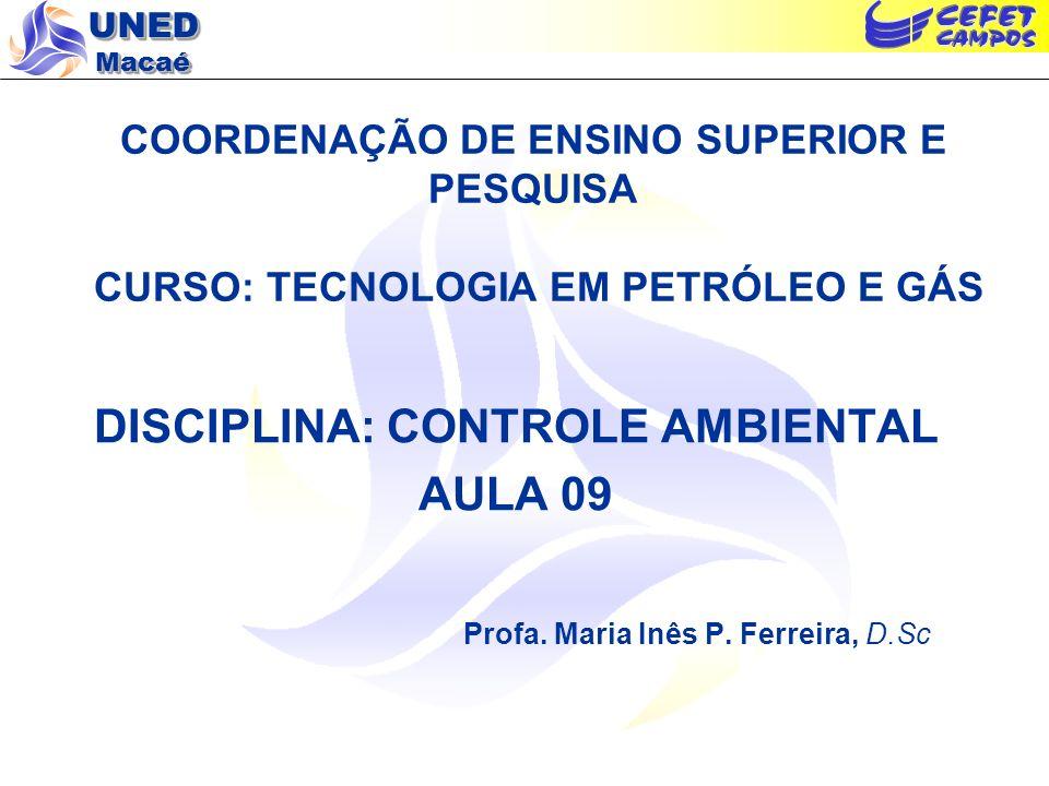 UNED Macaé COORDENAÇÃO DE ENSINO SUPERIOR E PESQUISA CURSO: TECNOLOGIA EM PETRÓLEO E GÁS DISCIPLINA: CONTROLE AMBIENTAL AULA 09 Profa. Maria Inês P. F