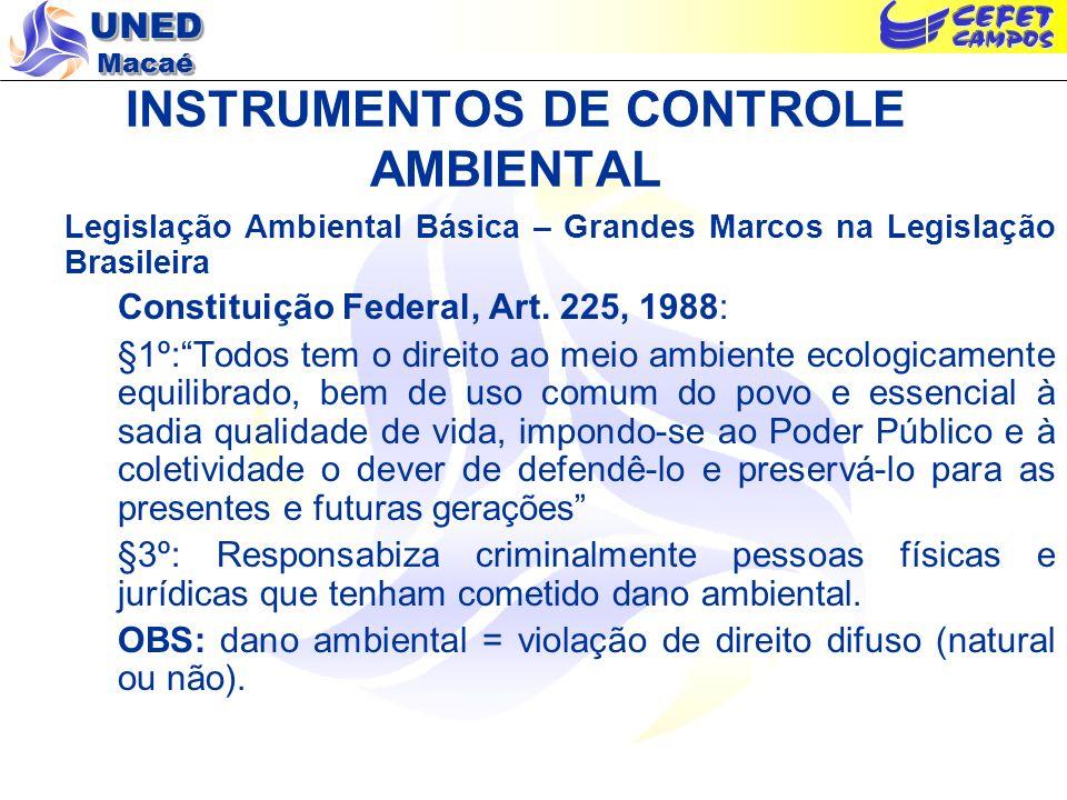 UNED Macaé INSTRUMENTOS DE CONTROLE AMBIENTAL Legislação Ambiental Básica – Grandes Marcos na Legislação Brasileira Constituição Federal, Art. 225, 19