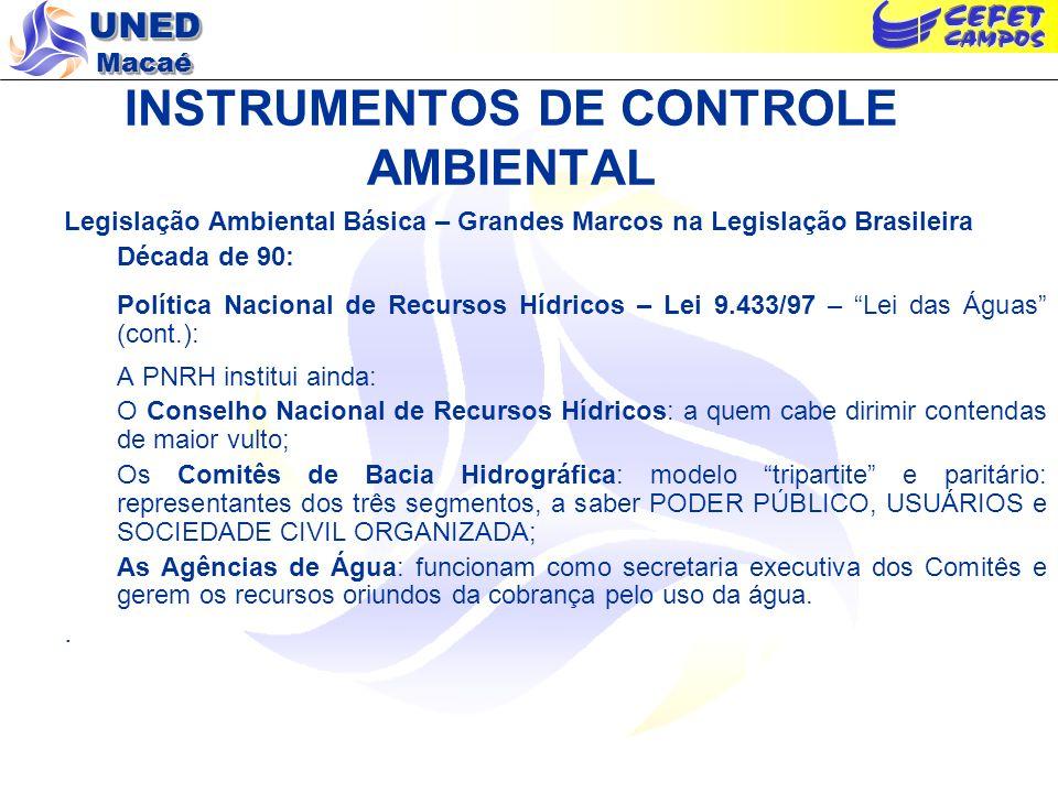UNED Macaé INSTRUMENTOS DE CONTROLE AMBIENTAL Legislação Ambiental Básica – Grandes Marcos na Legislação Brasileira Década de 90: Política Nacional de