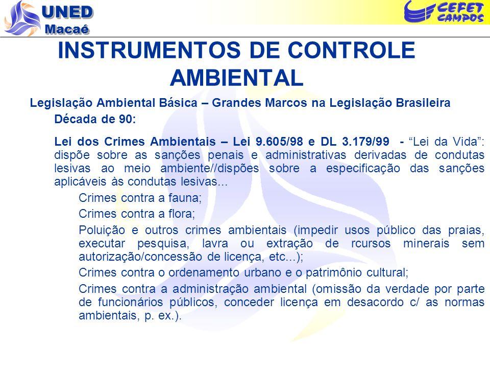 UNED Macaé INSTRUMENTOS DE CONTROLE AMBIENTAL Legislação Ambiental Básica – Grandes Marcos na Legislação Brasileira Década de 90: Lei dos Crimes Ambie
