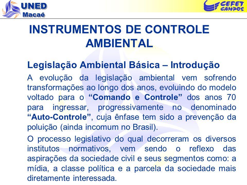 UNED Macaé INSTRUMENTOS DE CONTROLE AMBIENTAL Legislação Ambiental Básica – Grandes Marcos na Legislação Brasileira Antes da década de 80 - Código Florestal (Lei 4771/65): Art.