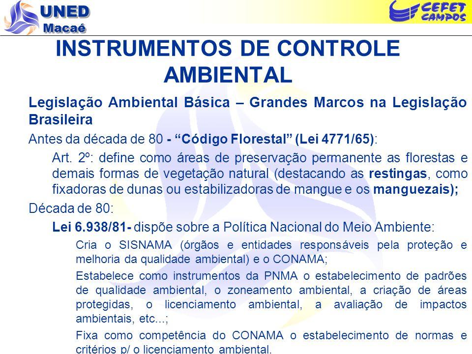 UNED Macaé INSTRUMENTOS DE CONTROLE AMBIENTAL OBS: O SISNAMA possui a seguinte hierarquia: Ministério do Meio Ambiente dos Recursos Hídricos e da Amazônia Legal (órgão central); Conselho Nacional do Meio Ambiente – CONAMA (órgão consultivo e deliberativo); Instituto Brasileiro do Meio Ambiente e dos Recursos Renováveis – IBAMA (órgão executor a nível federal); Órgãos Ambientais Estaduais (órgãos executores a nível estadual – SEMADS e seus órgãos - FEEMA, IEF e SERLA); Órgão Ambiental Municipal (órgão executor a nível municipal – SEMMA); Lei 6.938/81(cont.) Artigo 4º, item VII: A Política Nacional do Meio Ambiente visará à imposição, ao poluidor e ao predador, da obrigação de recuperar e/ou indenizar os danos causados e, ao usuário, da contribuição pela utilização de recursos ambientais com fins econômicos.; Artigo 14, §1º Sem obstar a aplicação das penalidades previstas neste artigo, é o poluidor obrigado, independentemente da existência de culpa a indenizar ou reparar os danos causados ao meio ambiente e a terceiros, afetados por sua atividade...