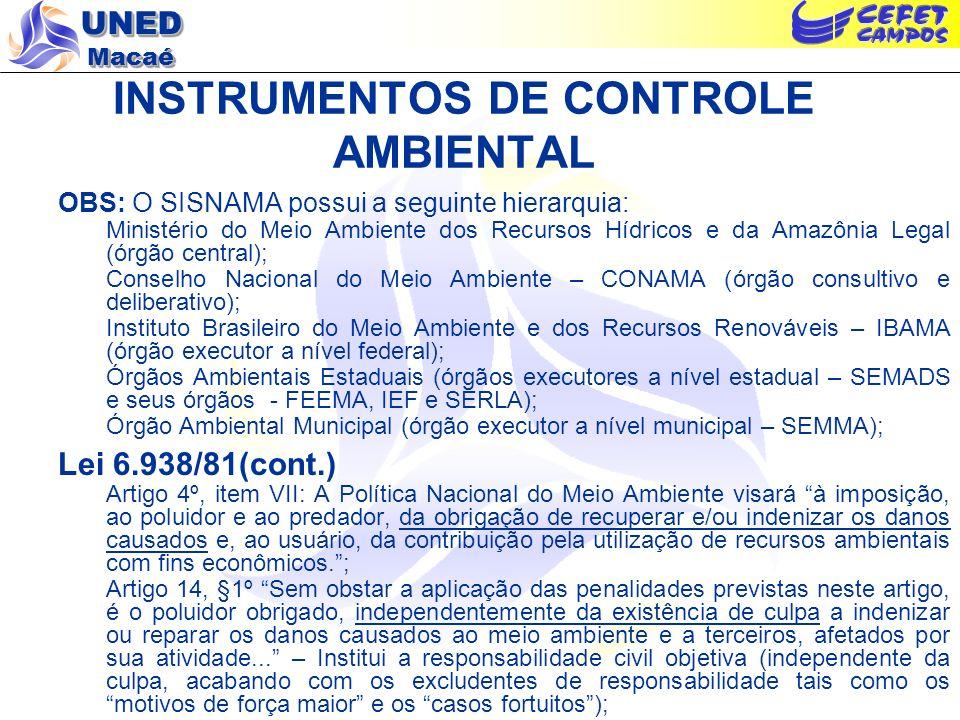 UNED Macaé INSTRUMENTOS DE CONTROLE AMBIENTAL Legislação Ambiental Básica – Grandes Marcos na Legislação Brasileira Década de 80 (cont.) Resolução CONAMA 01/86: estabelece as definições, as responsabilidades, os critérios básicos e as diretrizes gerais p/ o uso e implementação da AIA (destacando-se os conceitos de impacto ambiental e a necessidade de elaboração de EIA/RIMA); Resolução CONAMA 20/86: procede a classificação das águas doces, salobras e salinas, considerando-a essencial à defesa de seus níveis de qualidade, avaliados por parâmetros e indicadores específicos, de modo a assegurar seus usos preponderantes.