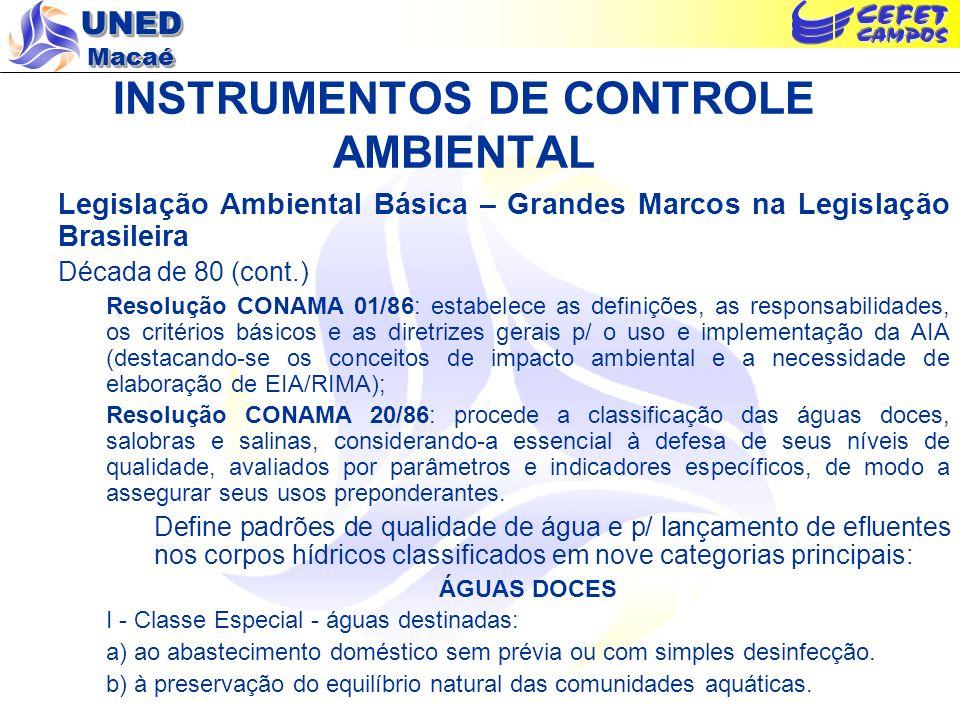 UNED Macaé INSTRUMENTOS DE CONTROLE AMBIENTAL Legislação Ambiental Básica – Grandes Marcos na Legislação Brasileira Década de 80 (cont.) Resolução CON