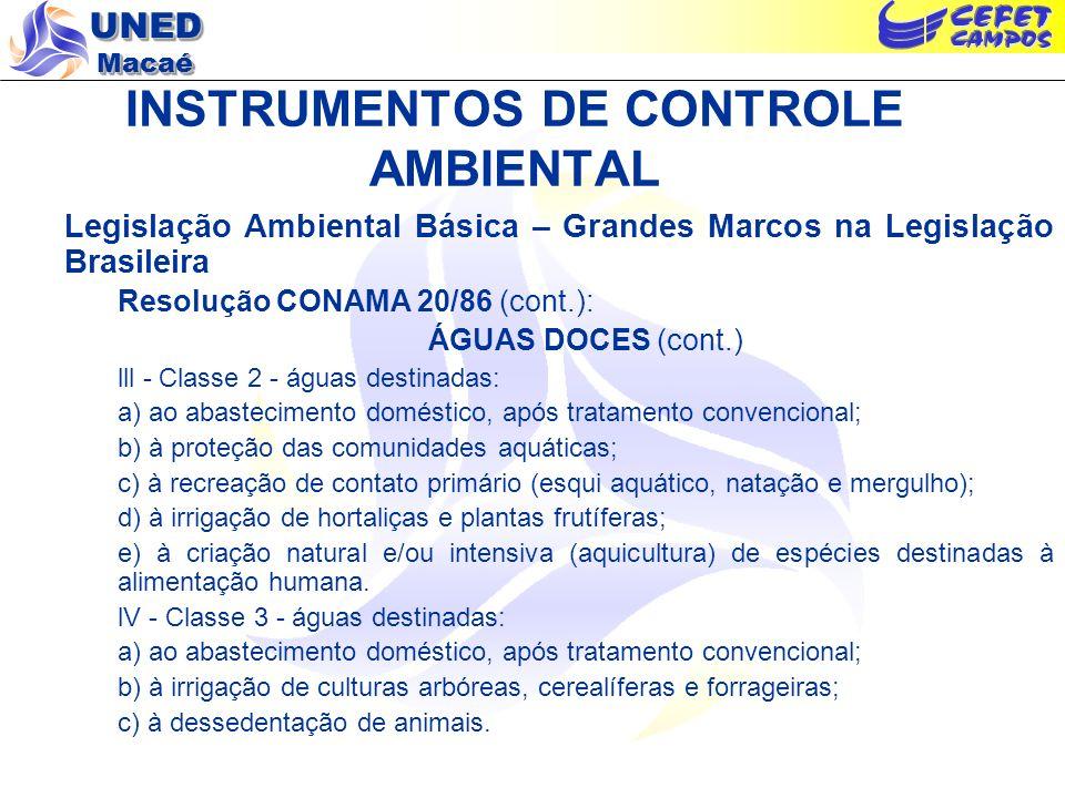 UNED Macaé INSTRUMENTOS DE CONTROLE AMBIENTAL Legislação Ambiental Básica – Grandes Marcos na Legislação Brasileira Resolução CONAMA 20/86 (cont.): ÁG