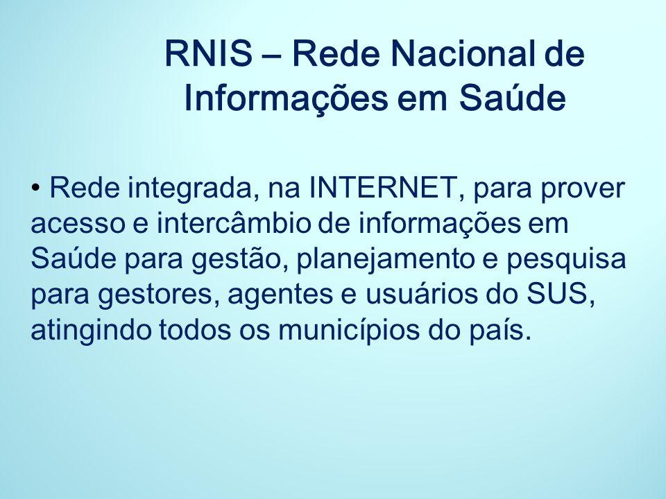 Rede integrada, na INTERNET, para prover acesso e intercâmbio de informações em Saúde para gestão, planejamento e pesquisa para gestores, agentes e us