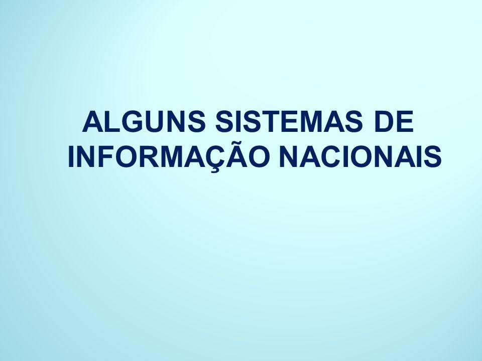 ALGUNS SISTEMAS DE INFORMAÇÃO NACIONAIS