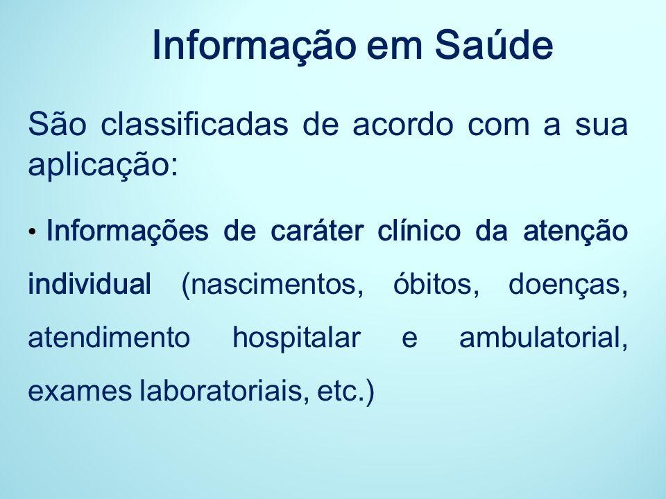 Informação em Saúde São classificadas de acordo com a sua aplicação: Informações de caráter clínico da atenção individual (nascimentos, óbitos, doença