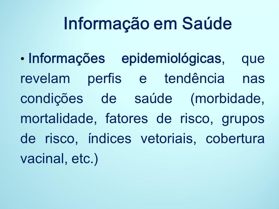 Informação em Saúde Informações que definem condições gerais de vida (informações demográficas, condições socioeconômicas, prole, escolaridade, renda, habitação, saneamento, etc.)