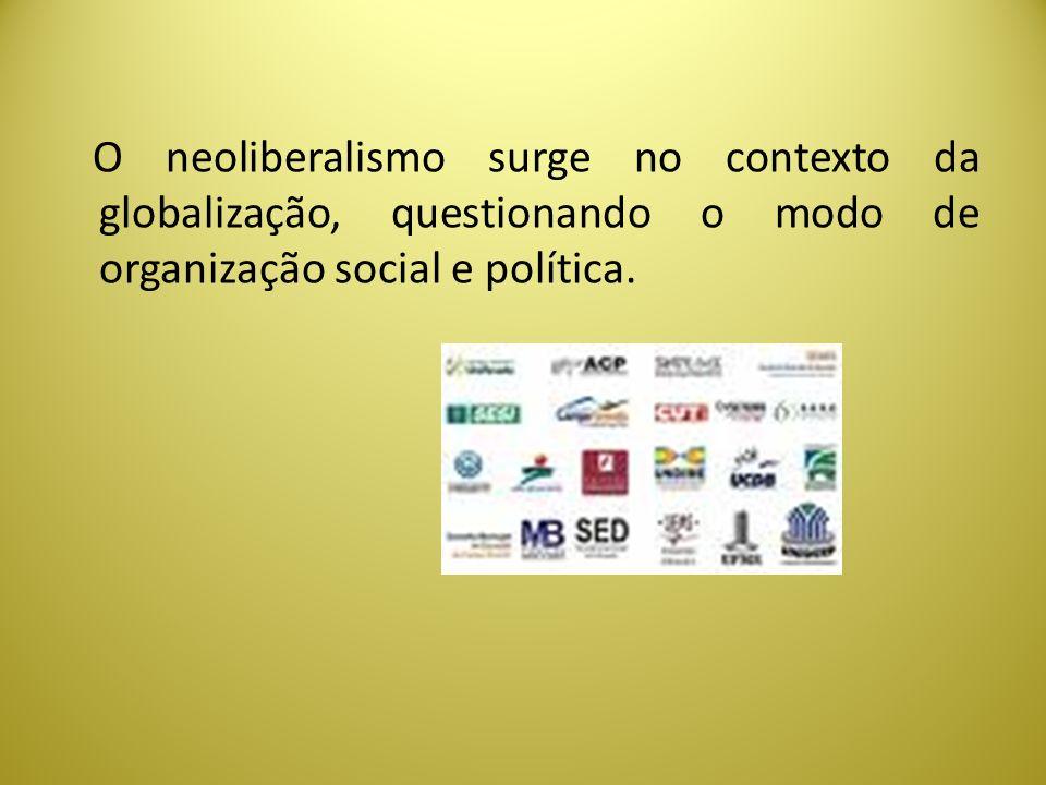 O neoliberalismo surge no contexto da globalização, questionando o modo de organização social e política.