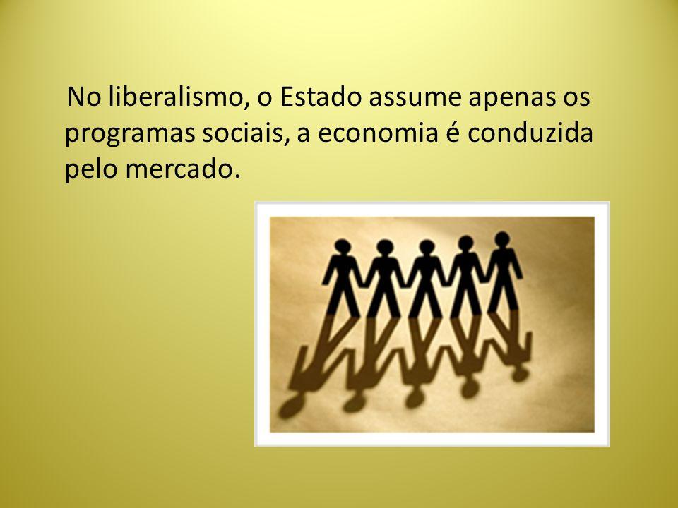 No liberalismo, o Estado assume apenas os programas sociais, a economia é conduzida pelo mercado.