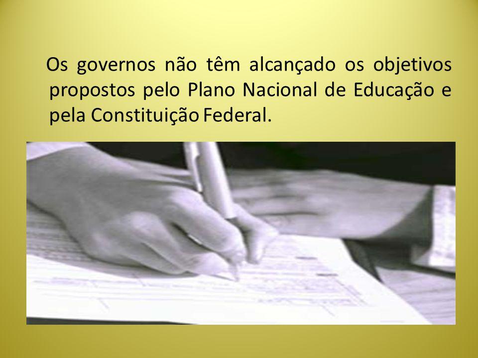 Os governos não têm alcançado os objetivos propostos pelo Plano Nacional de Educação e pela Constituição Federal.