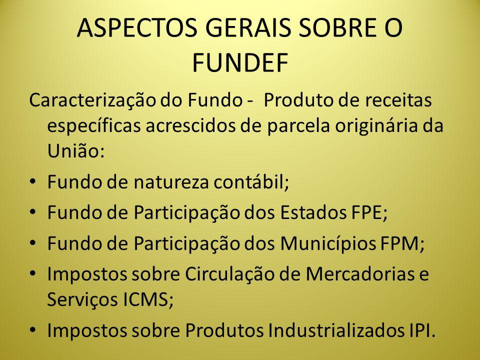ASPECTOS GERAIS SOBRE O FUNDEF Caracterização do Fundo - Produto de receitas específicas acrescidos de parcela originária da União: Fundo de natureza