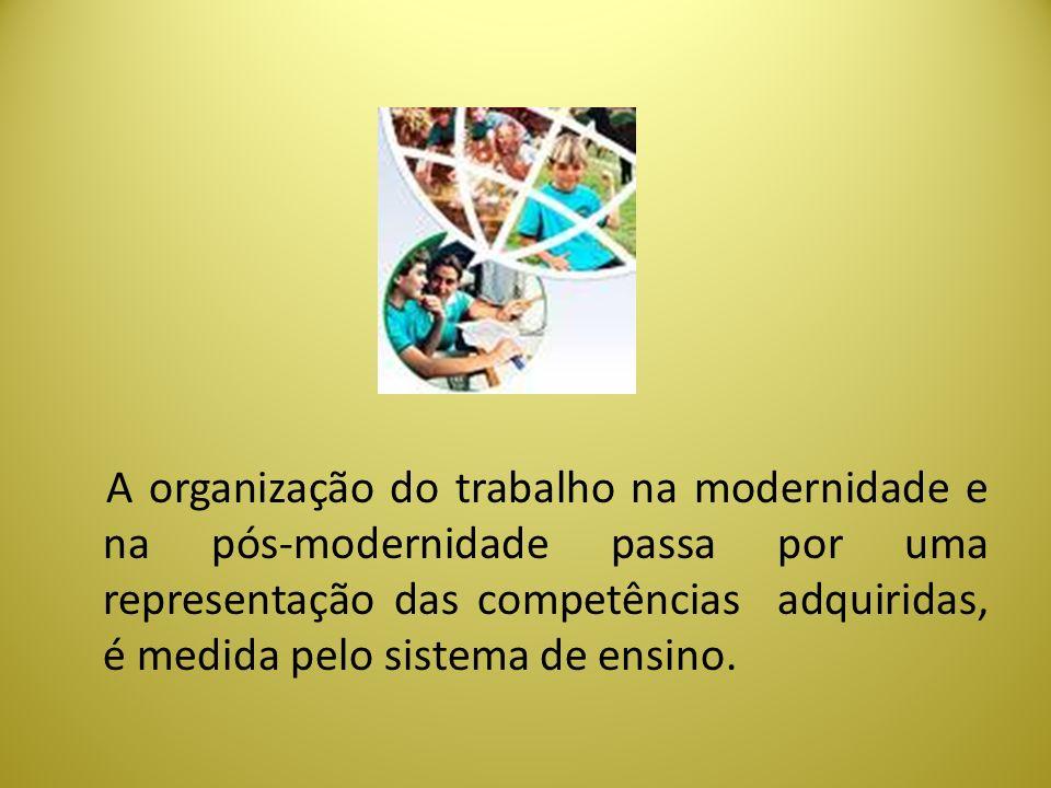 A organização do trabalho na modernidade e na pós-modernidade passa por uma representação das competências adquiridas, é medida pelo sistema de ensino