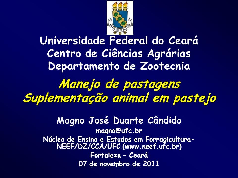 Manejo de pastagens Suplementação animal em pastejo Magno José Duarte Cândido magno@ufc.br Núcleo de Ensino e Estudos em Forragicultura- NEEF/DZ/CCA/U