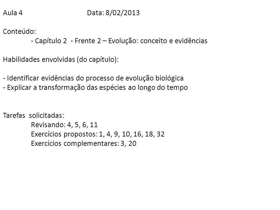 Aula 4Data: 8/02/2013 Conteúdo: - Capítulo 2 - Frente 2 – Evolução: conceito e evidências Habilidades envolvidas (do capítulo): - Identificar evidênci